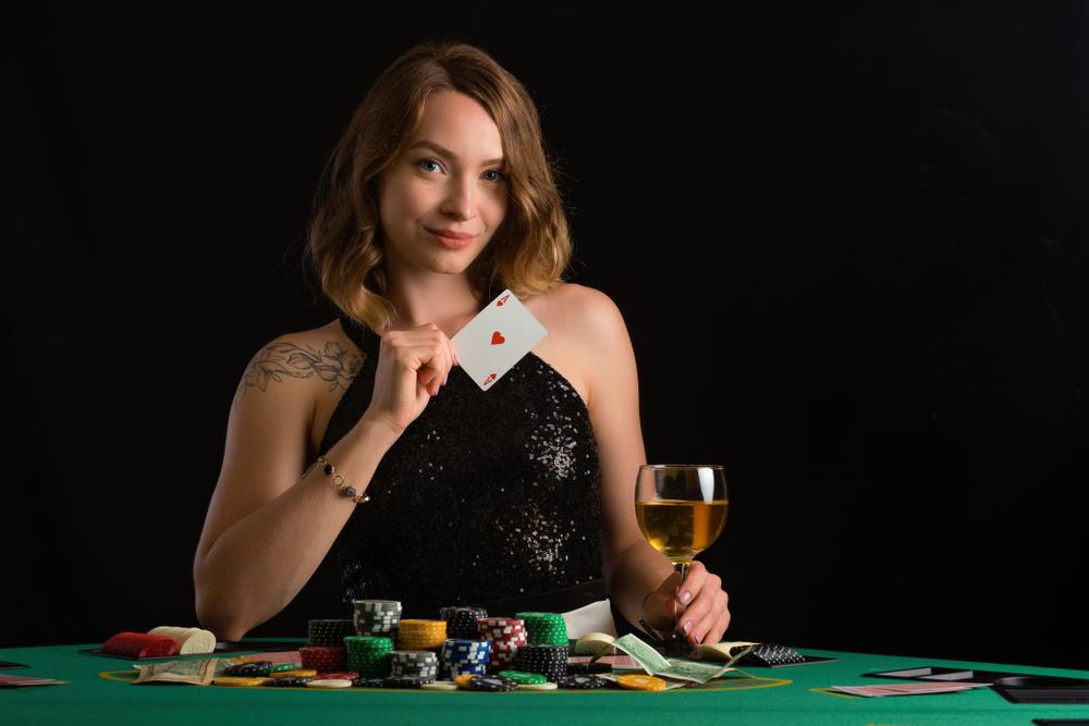 Exams girl playing poker black